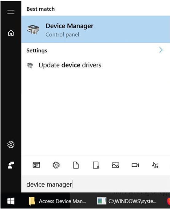 search device menu using start in Windows