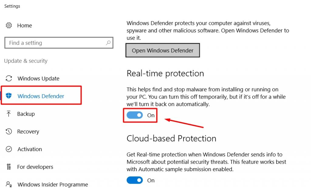 Disable Defender real-time protection