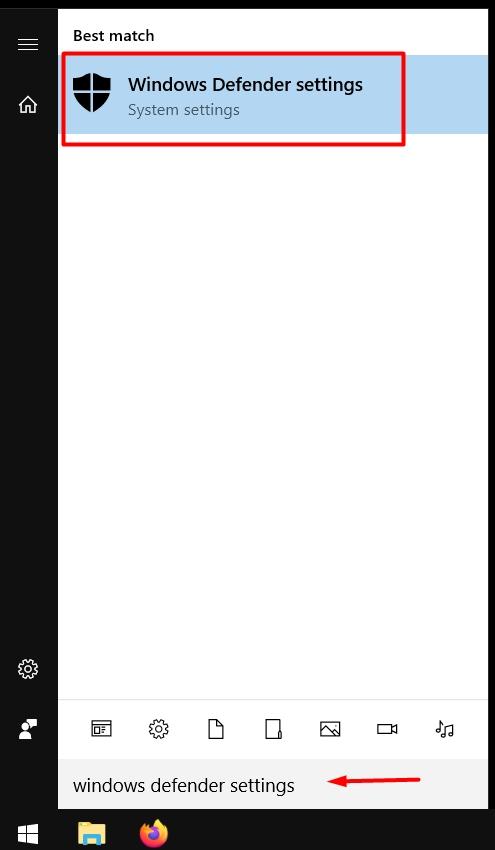 Windows defender setting via start menu