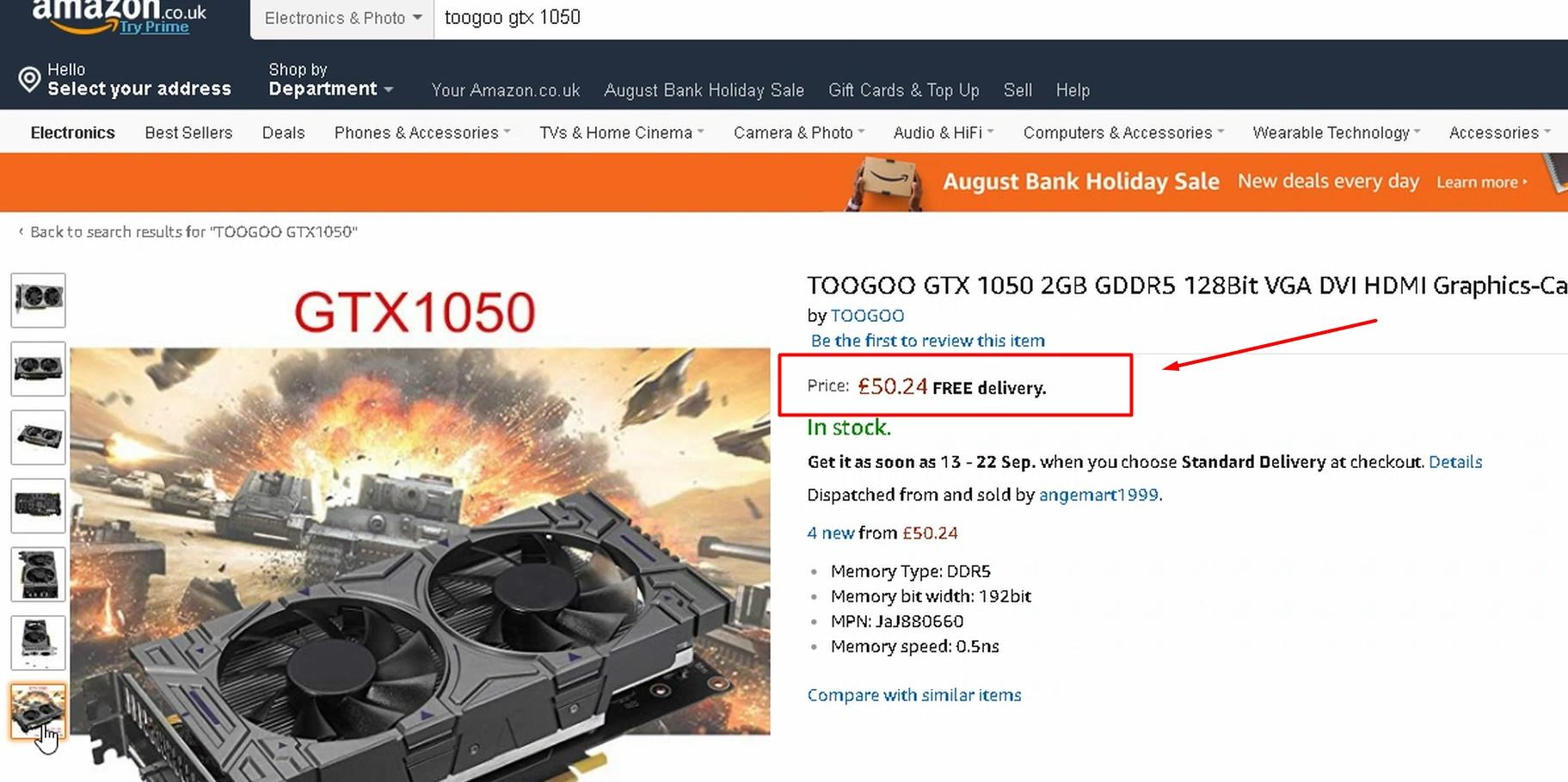 Fake GTX 1050 GPU sold Online
