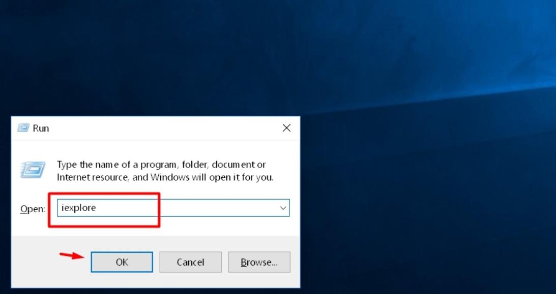 Open Internet Explorer in Windows 10 using Run Menu
