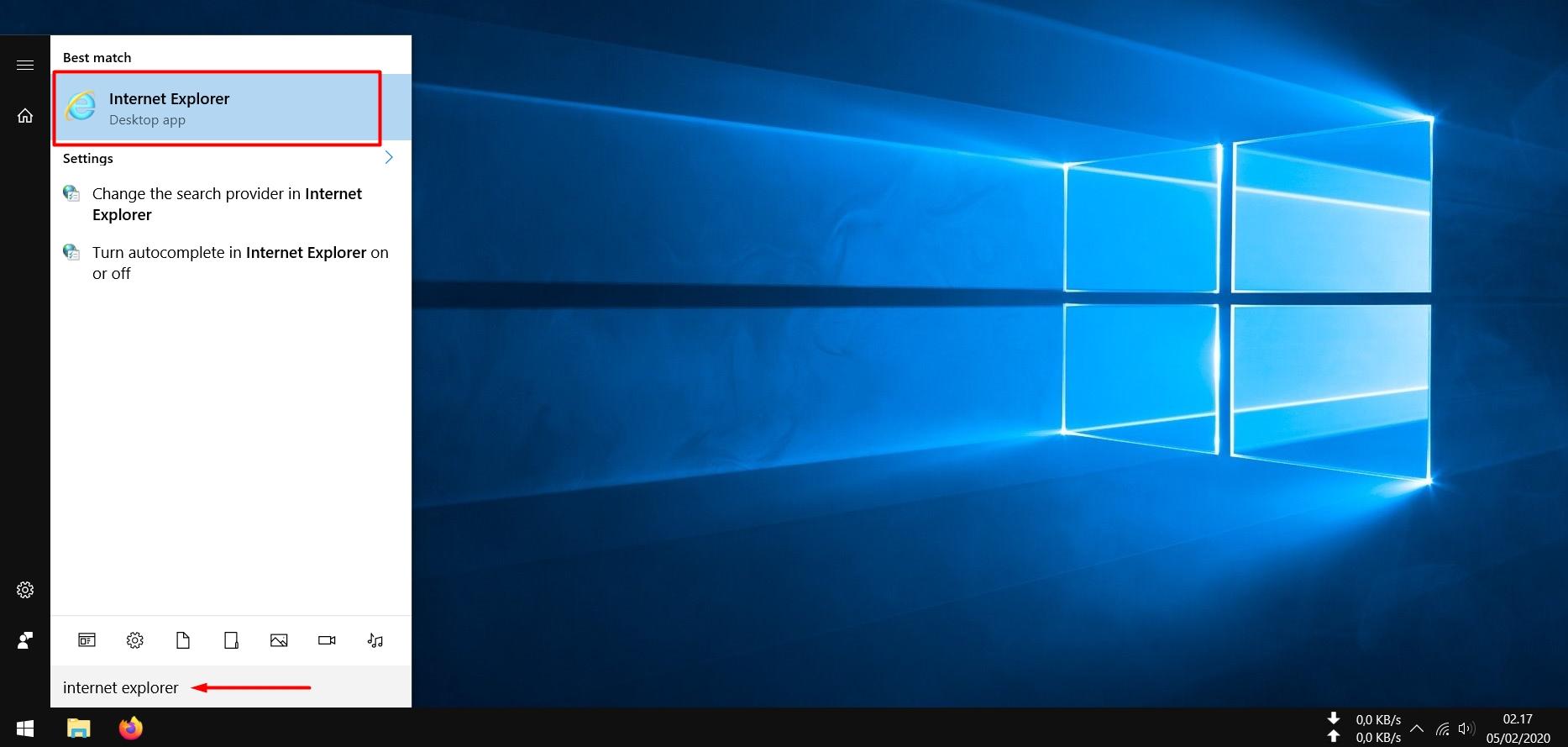 Open Internet Explorer using Start Menu