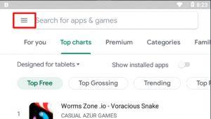 Gmail Empty trash now button fix - Tap play store menu